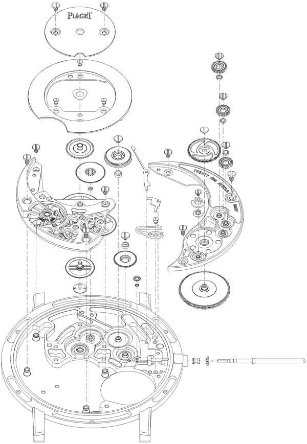 Schéma du mouvement et boitier 900P