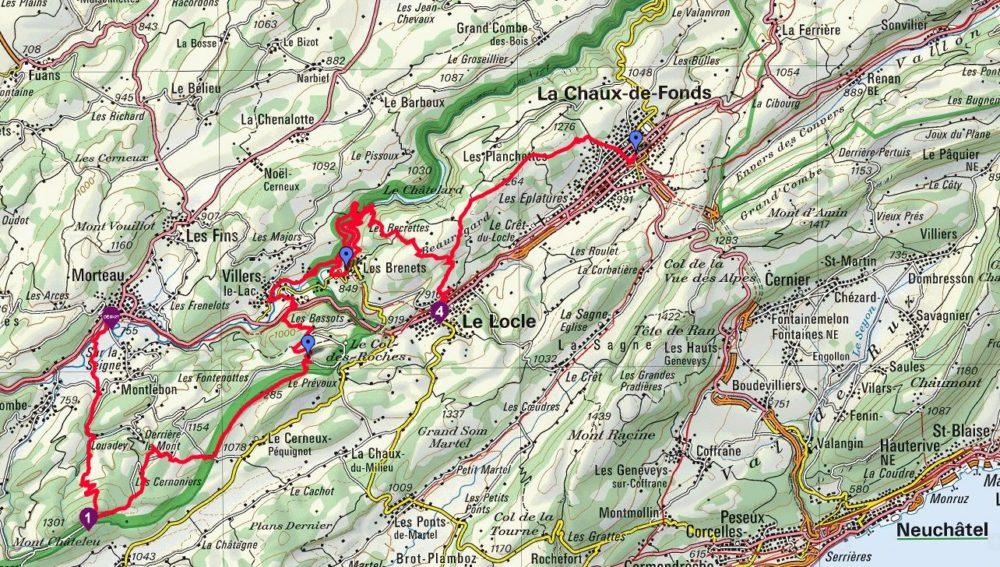 Carte de la randonnée de l'Orlogeur