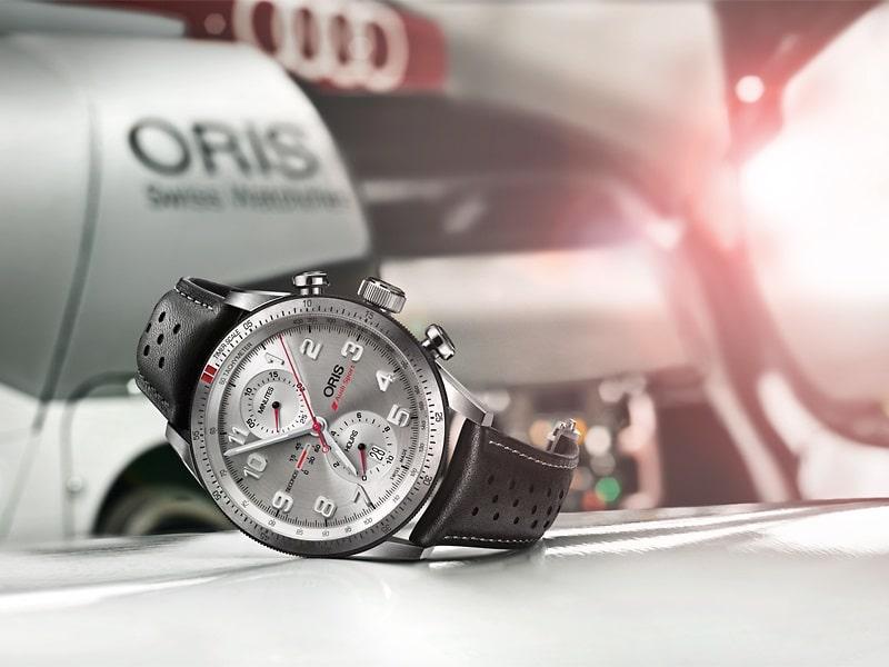 Oris-Audi-Sport-Limited-Edition sur une Audi de course