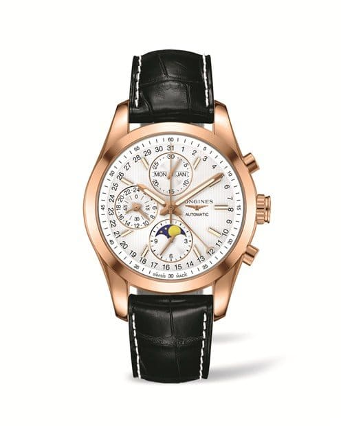Longines Conquest Classic Moonphase or rose et cuir alligator