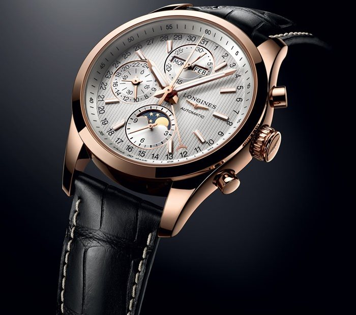 Longines Conquest Classic Moonphase or rose et cuir