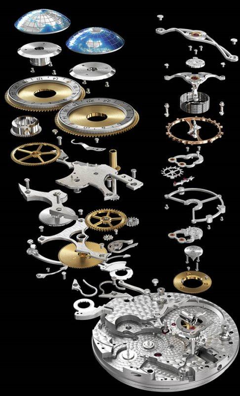 Vue éclatée du mouvement MontBlanc Collection Villeret Tourbillon Cylindrique Geospheres Vasco de Gama