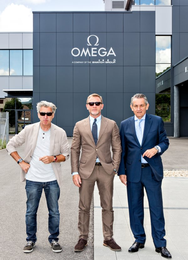 Nick Hayek_Daniel Craig_Stephen Urquhart are seen at the OMEGA Factory Visit in Switzerland